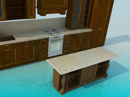 3d моделирование Деревянный кухонный гарнитур модель скачать бесплатно
