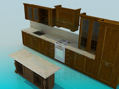 3d model Wooden kitchen set - preview