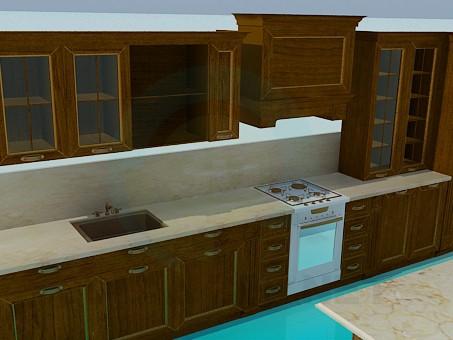 3d модель Деревянный кухонный гарнитур – превью