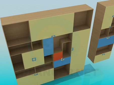 3d model Cupboard for books - preview
