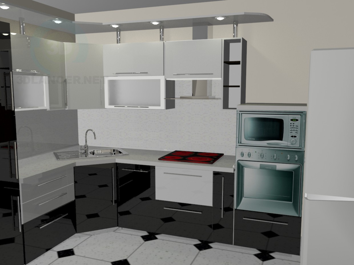 3d model Kitchen black and white - preview
