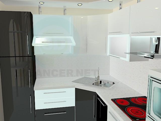 modelo 3D Cocina blanco y negro - escuchar