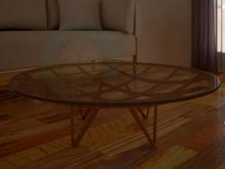 Mesa-redonda, feita de vidro, com estrutura de madeira