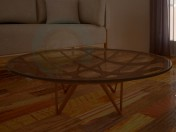 Round table, made of glass, with wooden structure