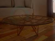 Стіл круглий, скляний, з дерев'яною конструкцією