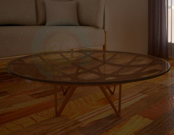 3d modeling Round table, made of glass, with wooden structure model free download