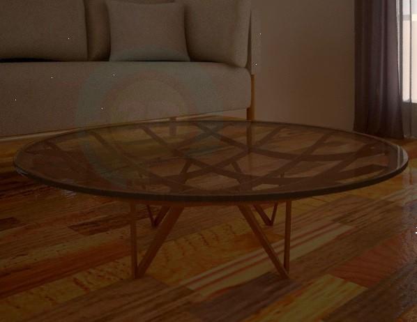 3d модель Стол круглый,стеклянный, с деревянной конструкцией – превью