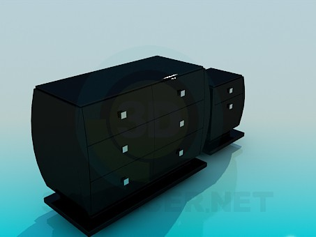 3d model Chest of drawers and nightstand in the set - preview