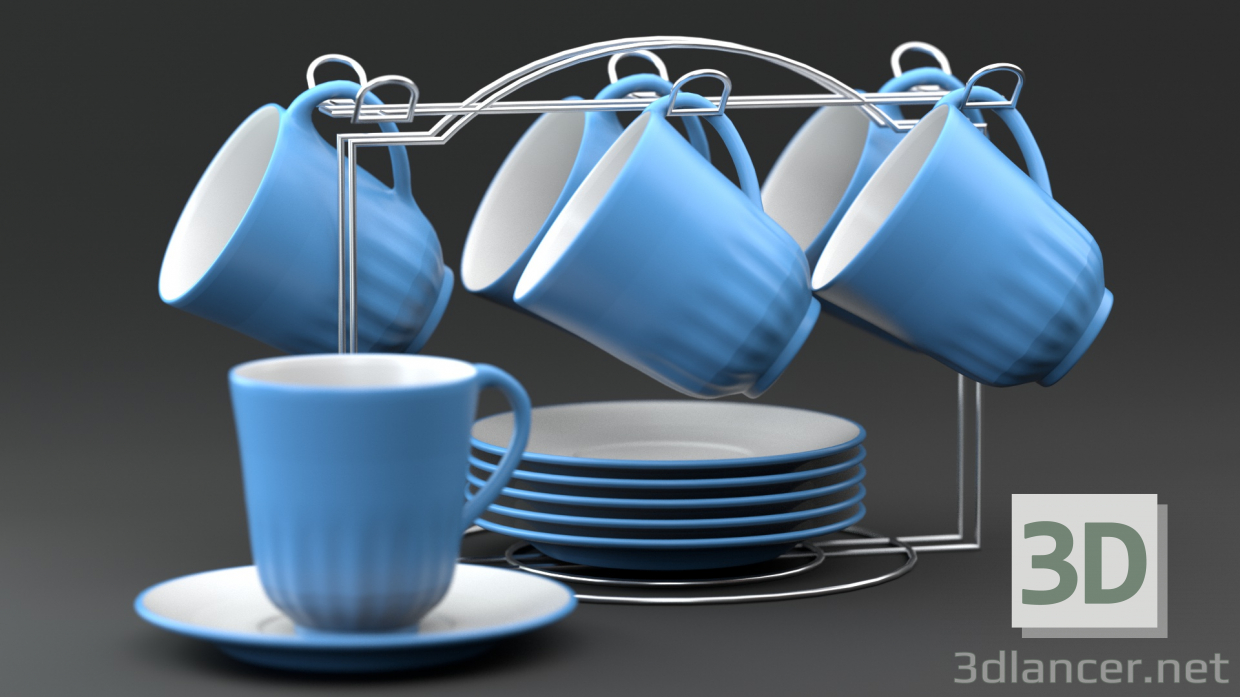 3d model Tea set on a stand - preview