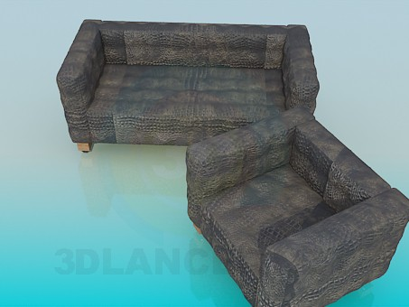 3d model Sofa and chair set - preview