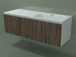 Washbasin with drawer (dx, L 144, P 50, H 48 cm, Noce Canaletto O07)