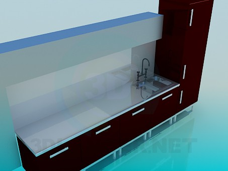 3d model Hi-Tech kitchen - preview
