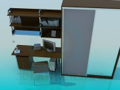 A set of furniture: wardrobe, desk, shelves