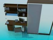 Un conjunto de mobiliario: armario, escritorio, estantes
