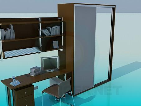3d модель Набор мебели: шкаф, стол, полки – превью