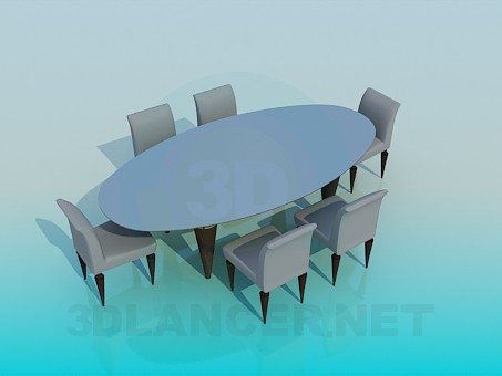 3d model Oval table and dining room for dinning room - preview