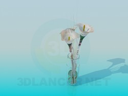 Lilies in a transparent vase