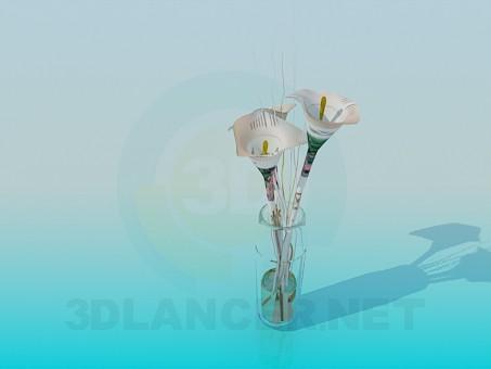3d modeling Lilies in a transparent vase model free download