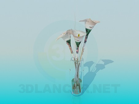 3d model Lilies in a transparent vase - preview