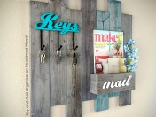DIY Key and Mail Organizer on Reclaimed Wood