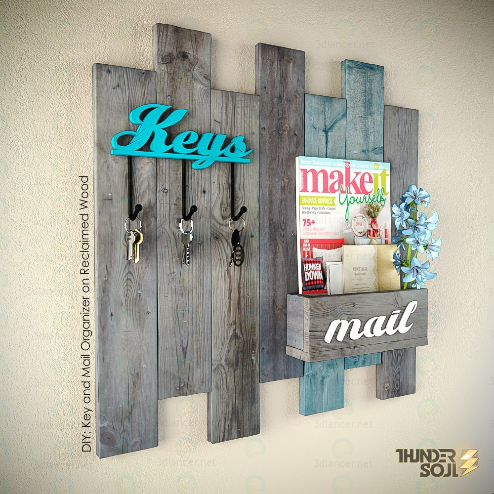3d model DIY Key and Mail Organizer on Reclaimed Wood - preview