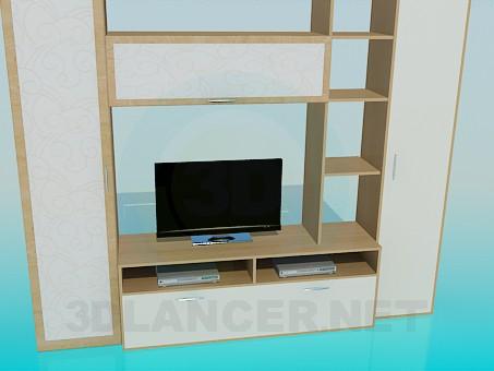 modelo 3D Gabinete en la sala de estar - escuchar