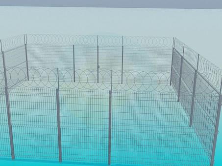 modelo 3D Valla de enrejado - escuchar
