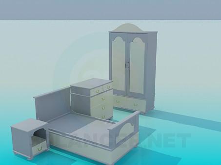 modelo 3D Los muebles de dormitorio de niños - escuchar