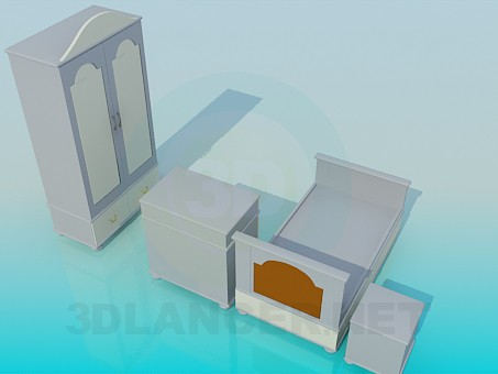 3d model The furniture in the children's bedroom - preview