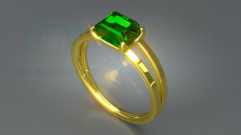 3d model Ring with stone - preview
