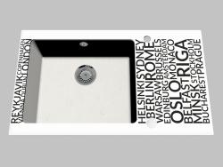 Fregadero de granito de vidrio, 1 cámara con un ala para secar - Edge Diamond Capella (ZSC AA2C)