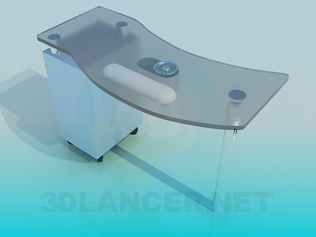 3d модель Стол стелянный – превью
