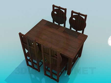 3d model Table and chairs for pub - preview