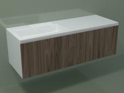 Lavabo avec tiroir (sx, L 144, P 50, H 48 cm, Noce Canaletto O07)