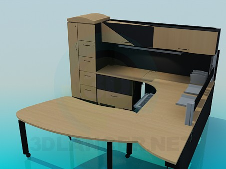 3d model Table, closet shelf and cabinet for the workspace - preview