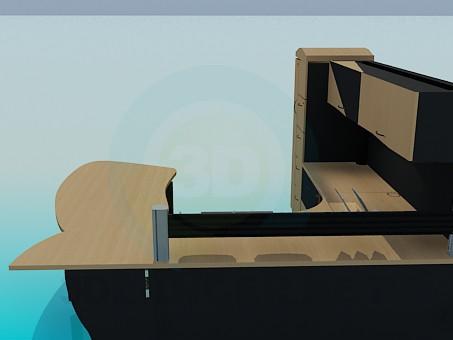 3d модель Стіл, шафа полку тумба для робочої області – превью