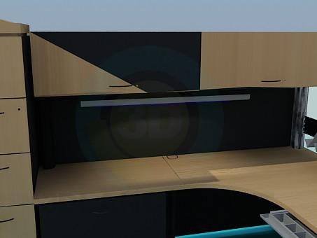 3d модель Стол, шкаф полка и тумба для рабочей области – превью