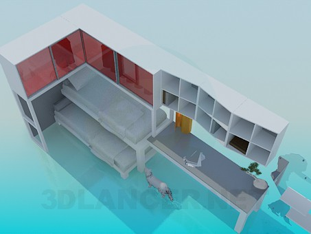 3d model Bunk bed, cupboard and table set - preview