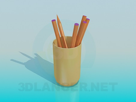 3d modeling Glass with pencils model free download