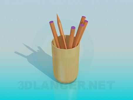 modelo 3D Vidrio con lápices - escuchar