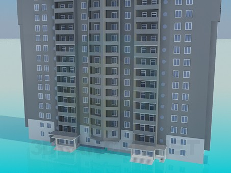 modelo 3D Bloque de vida residencial - escuchar