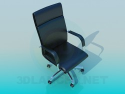 Black leather chair on wheels