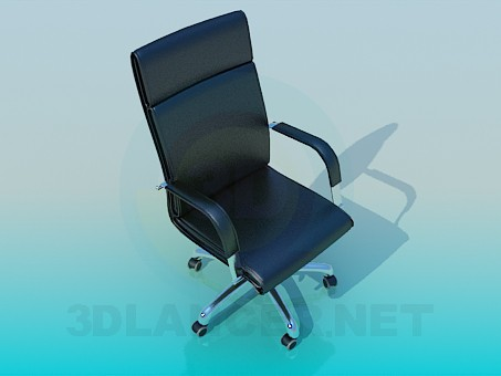 3d модель Черное кожанное кресло на колесиках – превью