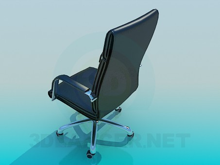 3d model Black leather chair on wheels - preview