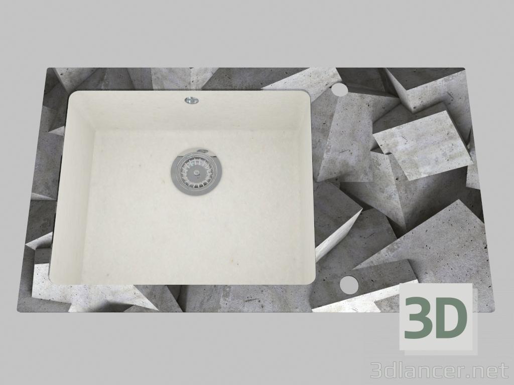 3d model Fregadero de granito de vidrio, 1 cámara con un ala para secar - el borde redondo Capella (ZSC AB1C) - vista previa