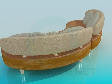 3d модель Полукруглый диван – превью
