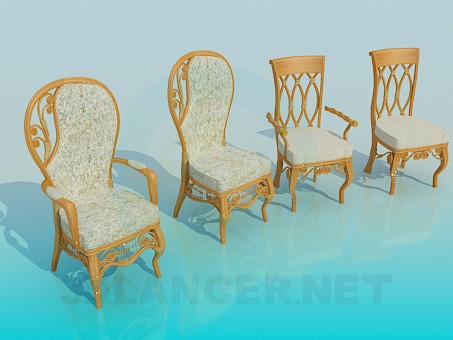 3d modeling Chairs in the set model free download