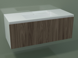 Lavabo avec tiroir (L 120, P 50, H 48 cm, Noce Canaletto O07)