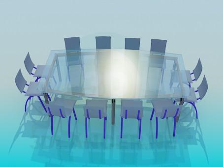 3d модель Великий скляний стіл для конференцій – превью