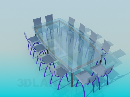 3d model Large glass table for conferences - preview